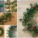 Фото 36: Зеленый рождественский венок из картонных цилиндров