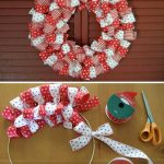 Фото 22: Рождественский венок из лент в двух цветах