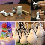 Фото 44: Елочные игрушки пингвины из лампочек