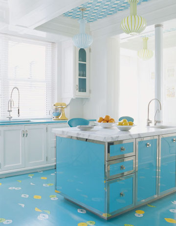 house beautiful colorful kitchen turquoise blue cabinets 1960s ceiling lamps italian william diamond anthony baratta white statuary marble