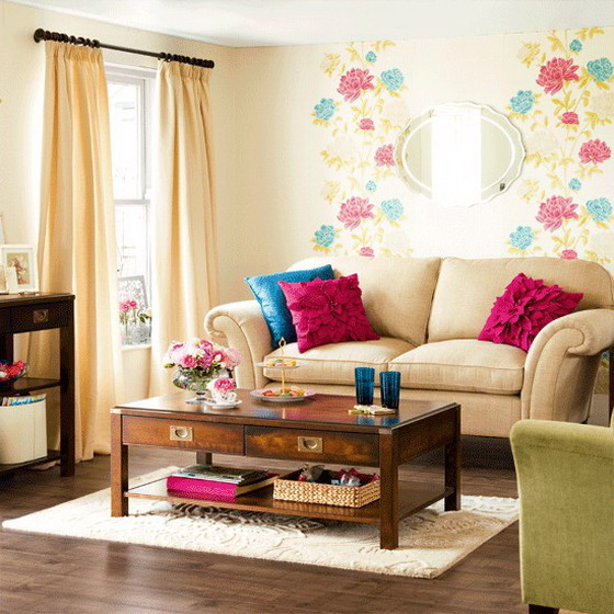 Happy-Flowers-Wallpaper-in-Small-Modern-Living-Room