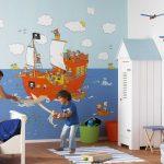 Фото 62: Обои с пиратским рисунком в детской