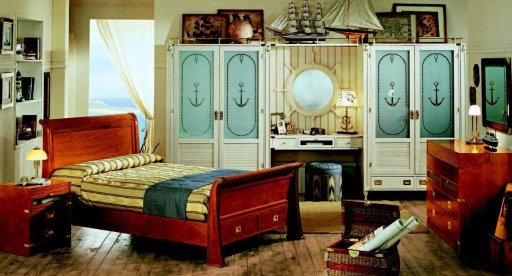Шкаф в морском стиле в детской