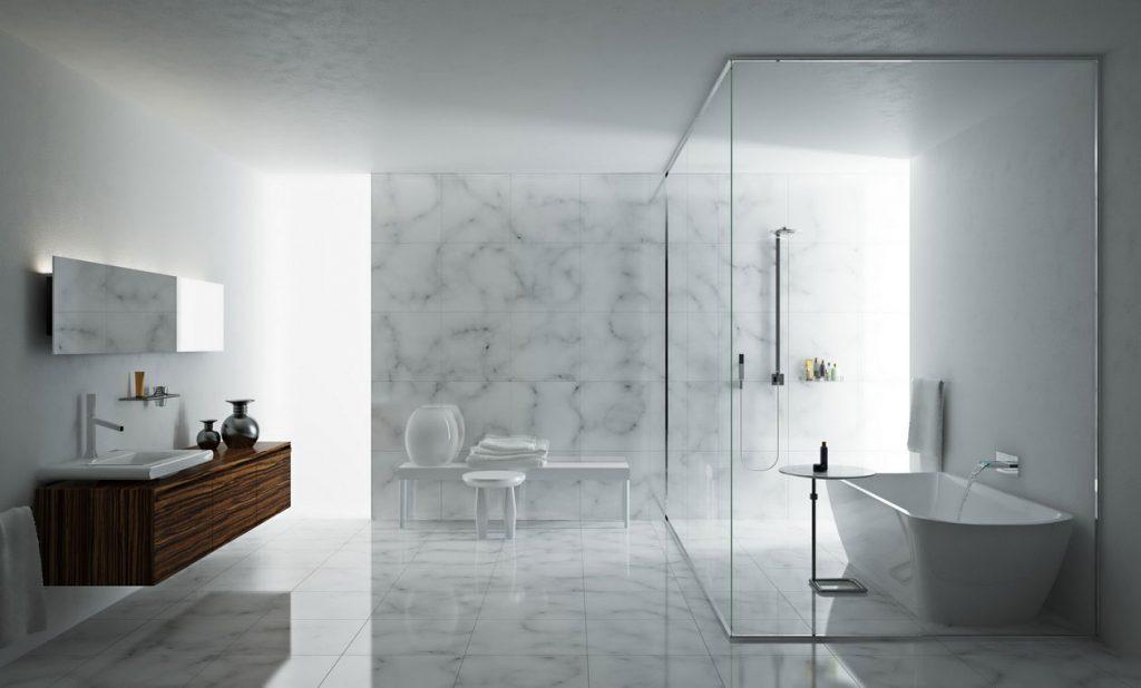 Стеклянная душевая в современном интерьере ванной комнаты