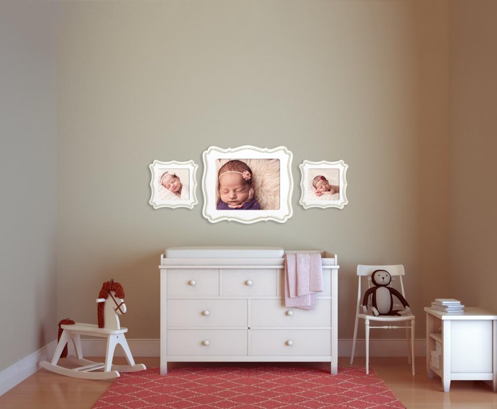 Украшение комнаты для новорождённого детскими фотографиями