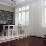Фото 70: Нитяные шторы в интерьере фото кухня