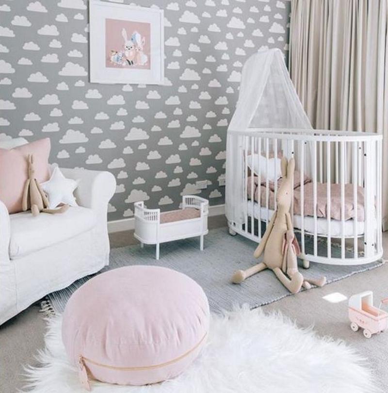Дизайн комнаты для новорождённых в нежных тонах