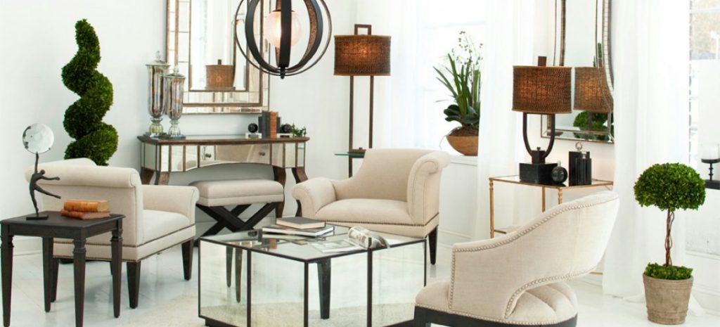 Зеркальная мебель в гостиной