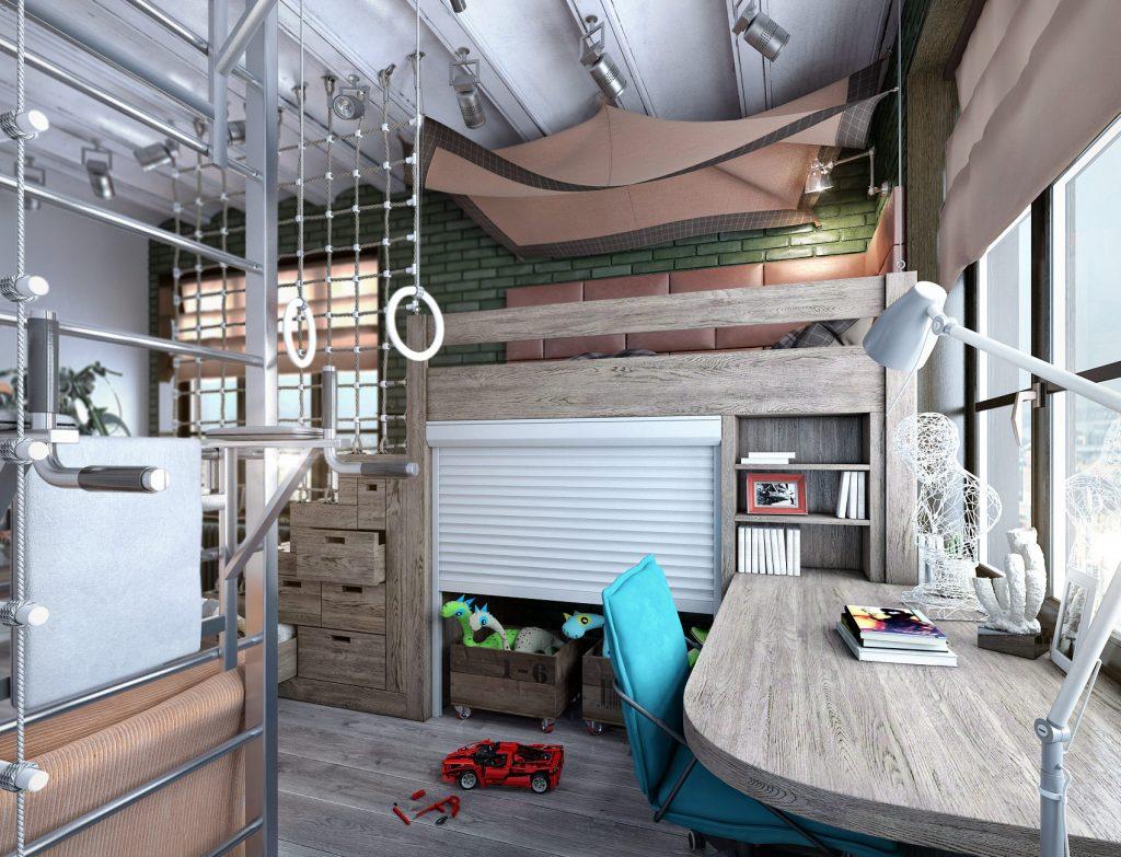 Детская комната в стиле лофт для мальчика