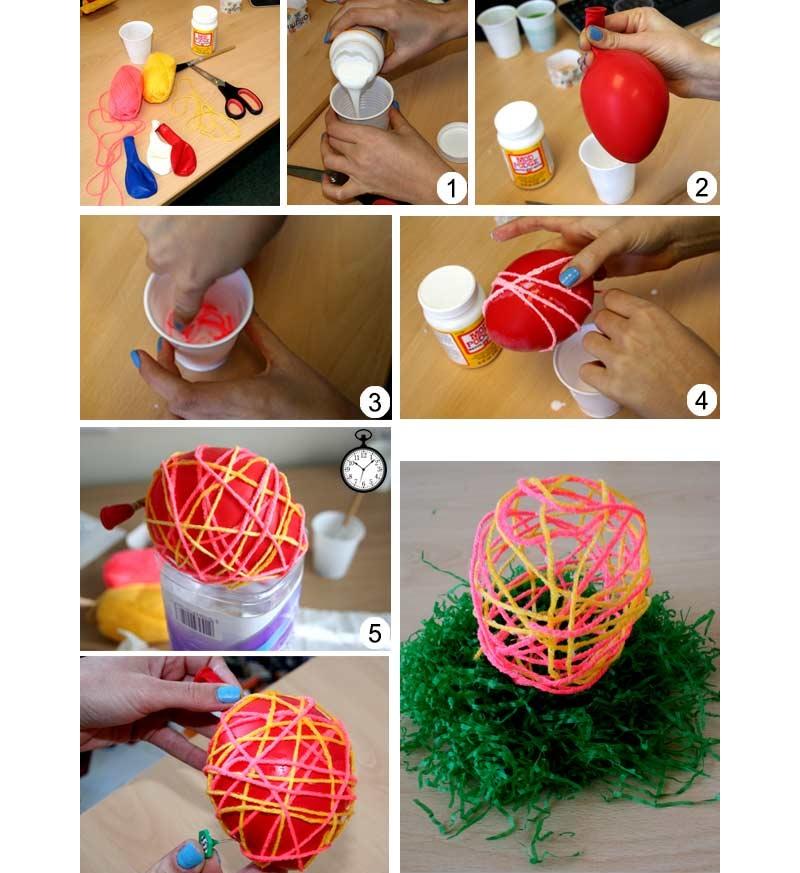 Изготовление яиц из ниток и шара