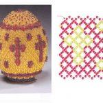 Фото 39: Схема обвязки бисером яйца с крестом