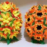 Фото 87: Цветочные модульные яйца оригами