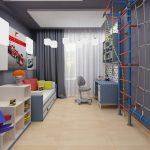 Фото 61: Зонирование в детской при помощи потолка
