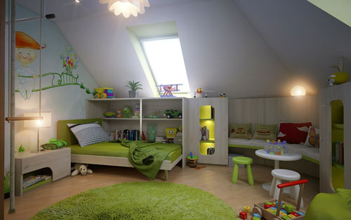 Интерьер детской комнаты  в мансарде