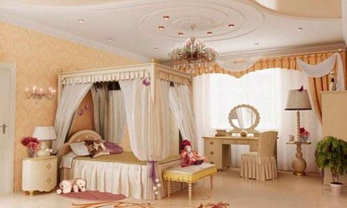Белые шторы в интерьере детской комнаты в классическом стиле