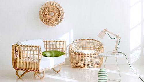 Мебель из ротанга в дизайне гостиной в африканском стиле