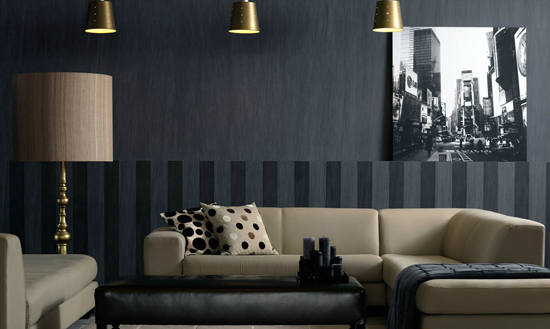 Текстильная стена в интерьере гостиной