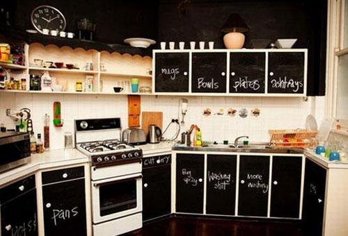 На шкафчики нанесены надписи в интерьере кухни