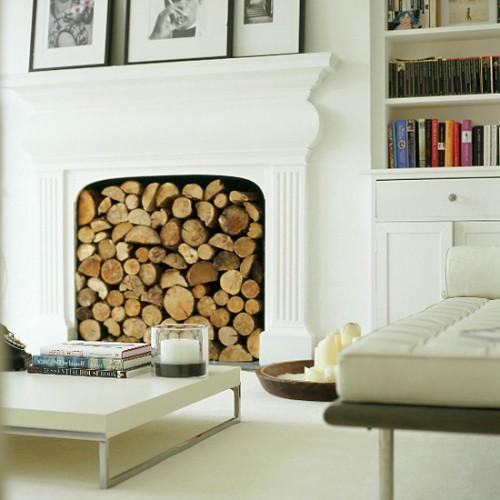 Хранение дров внутри камина