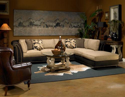 Мебель в интерьере гостиной в африканском стиле