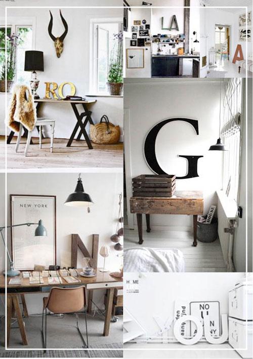 Объемные буквы в интерьере гостиной комнаты