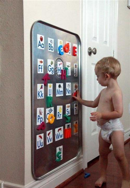 Магнитные доски - способ создания надписей на стенах в интерьере детской