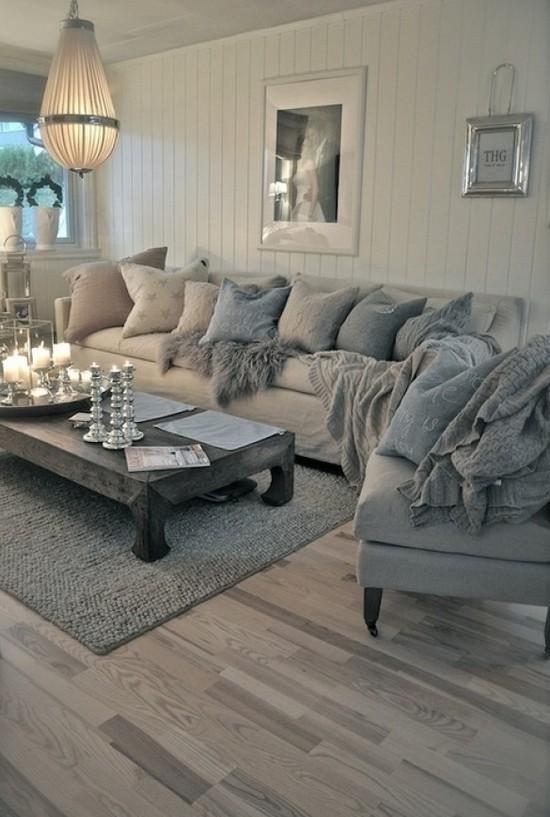 Серый ламинат в интерьере гостиной