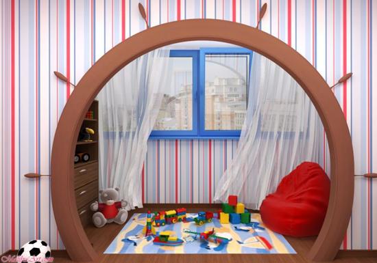 Игровая зона на балконе в детской комнате