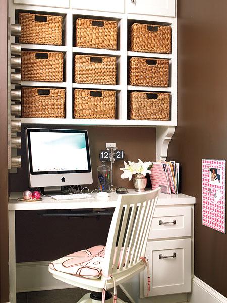 Использование плетеных корзин в кабинете