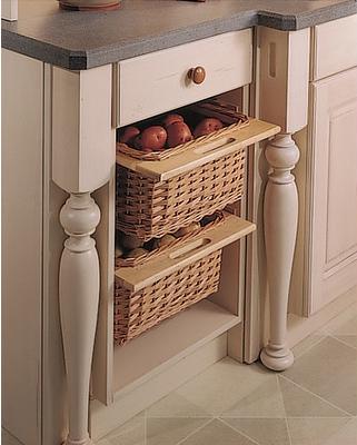 Хранение на кухне в плетеных корзинах