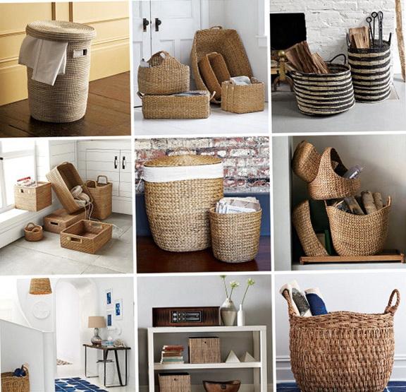 Плетеные корзины в интерьере фото