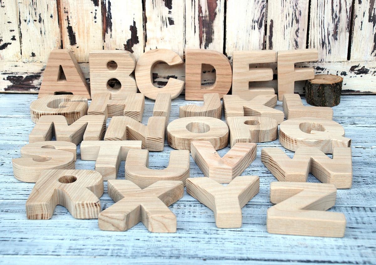 Объемный деревянный алфавит для детей