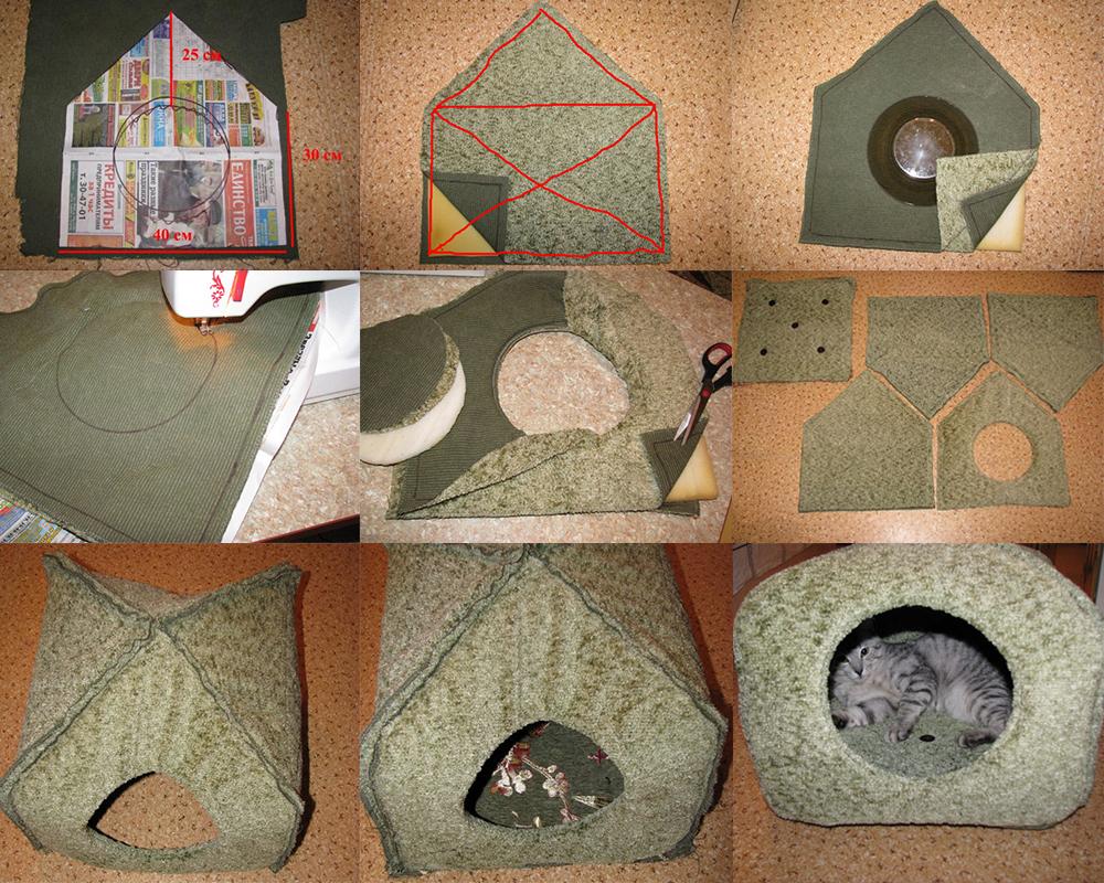 Мягкий домик из ткани и поролона