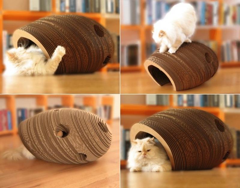 Домики из гофрированного картона для кошек