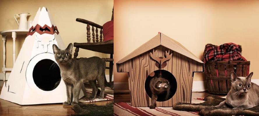 Картонные избушки и виг вамы для кошек