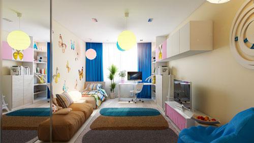 Непродуманный дизайн детской комнаты в гостиной