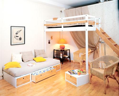 Спальное место в дизайне детской комнаты в гостиной