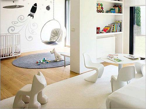 Использование стеллажей для создания детской комнаты в гостиной