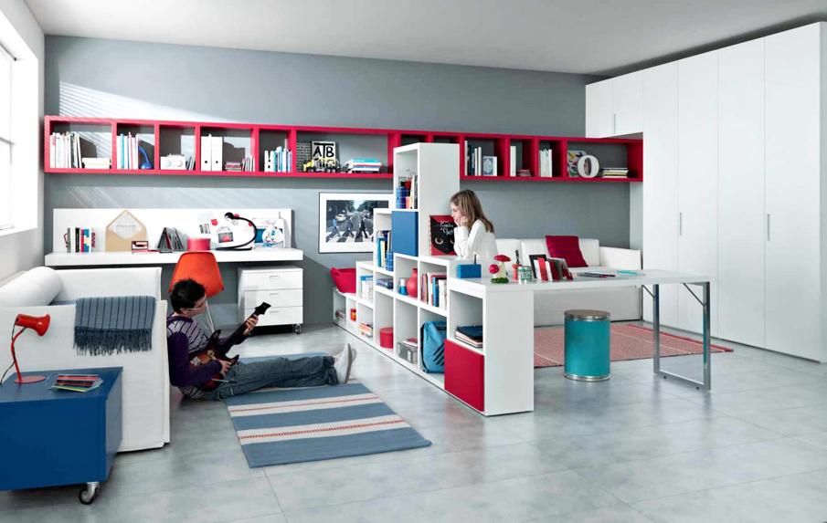 Зонирование детской комнаты для двух детей стеллажем