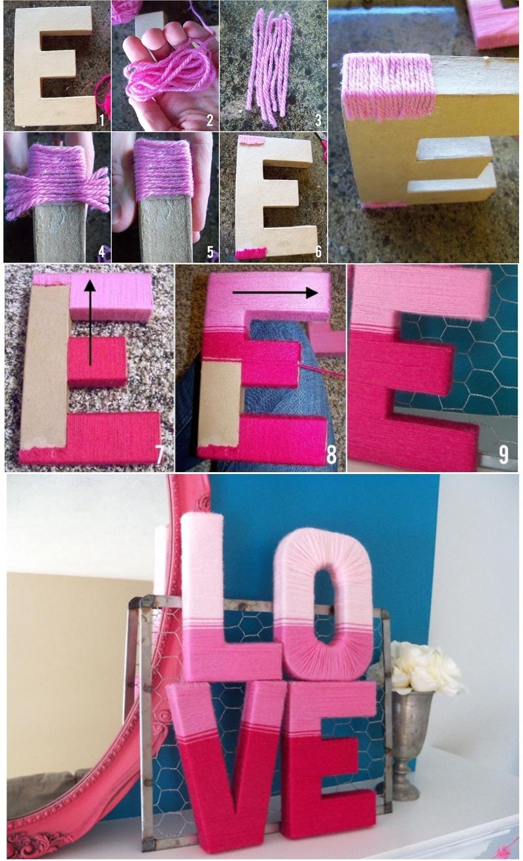 Отделка объемной буквы из картона пряжей