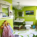 Фото 5: Яркая салатовая ванная комната