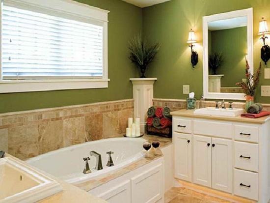 Фисташковый цвет в интерьере ванной