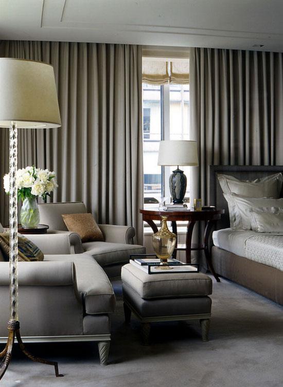 Шторы для спальни в сочетании с остальным текстилем