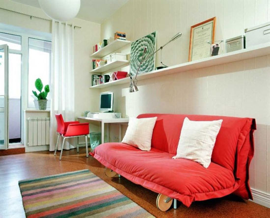 Amazing-Study-Room-Models-Red-Sofa-White-Interior-Marble-Floor-805x650