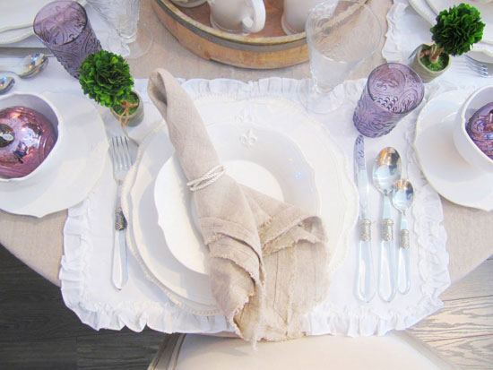 Pom-Pom-place-setting-ruffle-cotton-placemat-linen-napkin-dinnerware-glassware-plates-dinner-silverware-drinking-glasses-vintage-forks-cococozy