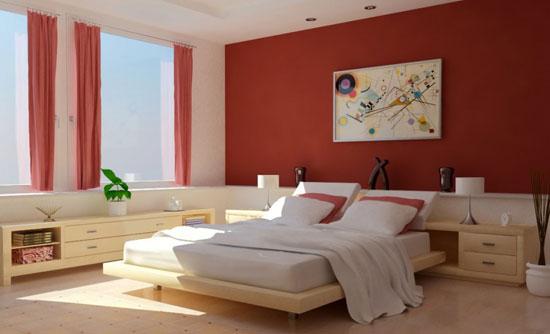 Спальня в красно-белых цветах
