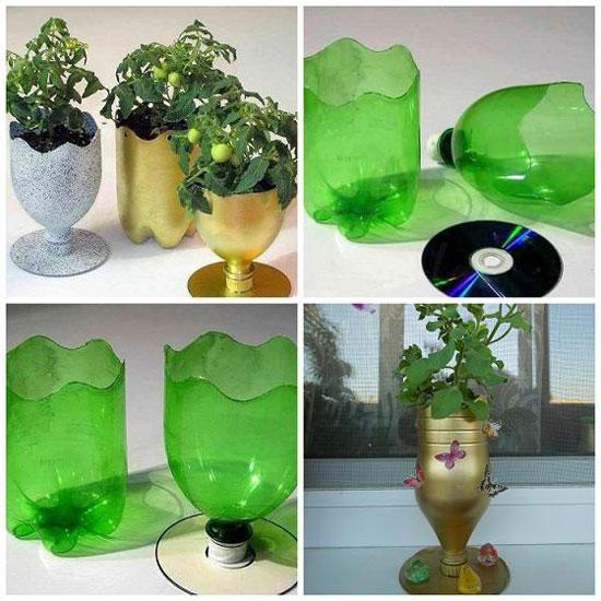 Идеи создания цветочных горшков из пластиковых бутылок
