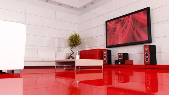 Интерьер красно-белой гостиной в стиле минимализм