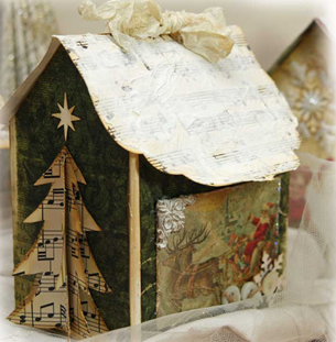 Рождественские домики из плотного картона