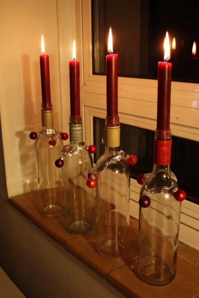Новогодние свечи в бутылках